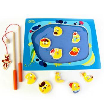 板木制小猫钓鱼儿童益智钓鱼玩具磁性宝宝双人游戏