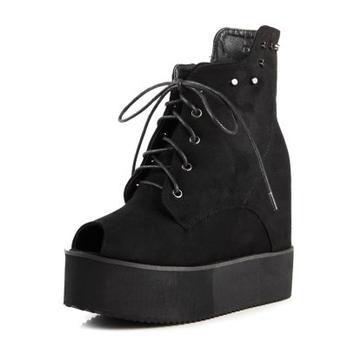 Kvoll扩尔超高新款铆钉系带装饰鱼嘴童鞋跟短青青娃时尚图片