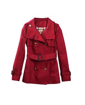 铁锈红短款风衣