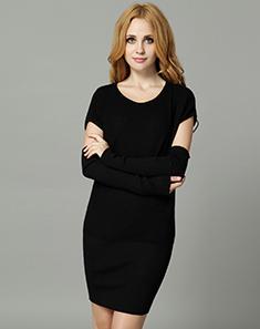 黑色长款毛衣针织衫外套 - 针织衫\/女士上衣\/女