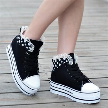 糕厚底女女帆布鞋