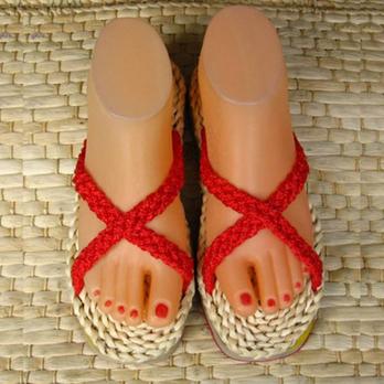 手编草鞋 中国结拖鞋 绿色材料