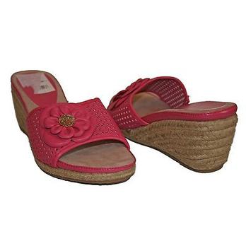 女士坡跟套脚真皮拖鞋