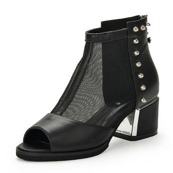 黑色真皮罗马鞋鱼嘴鞋坡跟凉鞋女高跟鞋女鞋cos圣诞装图片