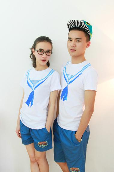 海军风手绘情侣装海魂衫水手校服毕业照班服短袖t恤