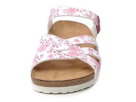 印花扣饰超纤革软木底休闲凉鞋
