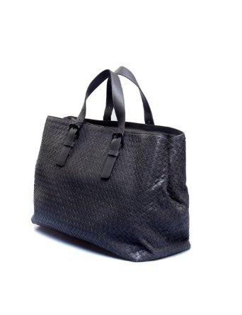 veneta(宝缇嘉)灰色皮质编织手提包