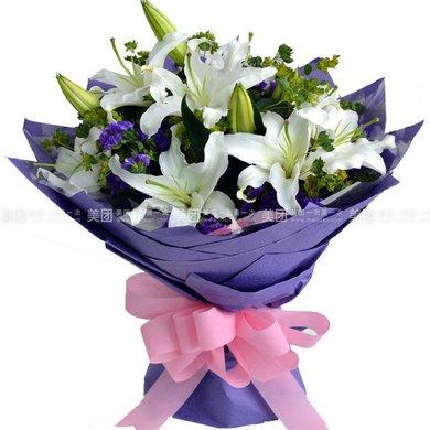 高端长方形花束礼盒百合花束(11枝)1束