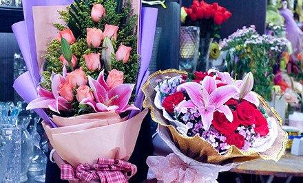 扇形花束-扇形花束包装图解/网上花店/扇形/扇形花束