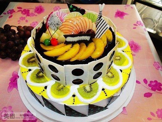 双层欧式水果巧克力蛋糕1个