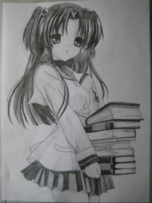 可爱少女漫画素描_少女漫画素描图片