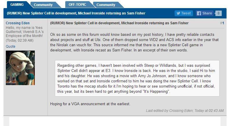 网友曝光育碧正制作《细胞分裂》新作