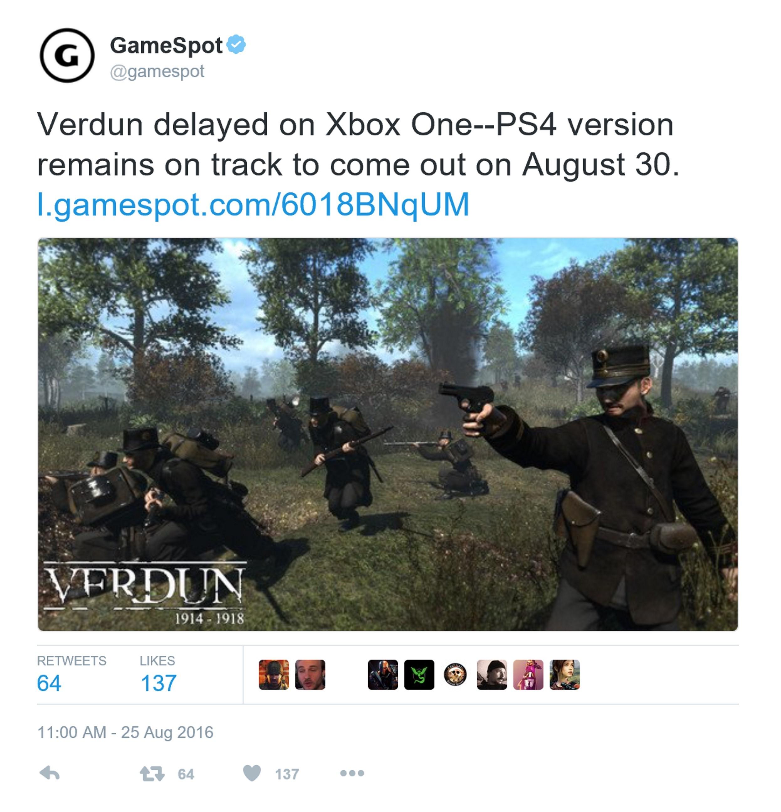 《凡尔登战役》Xbox One跳票