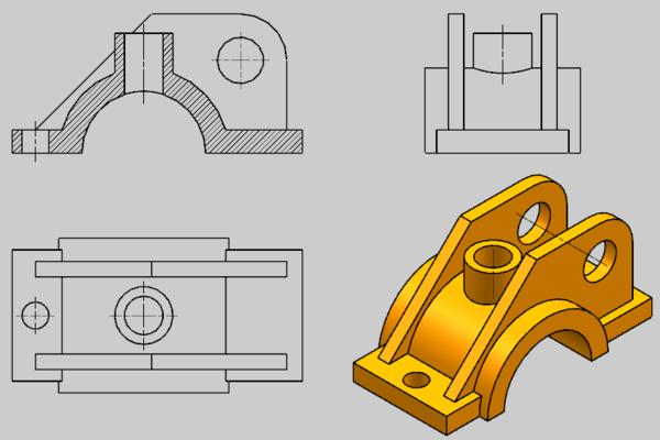 帮忙用CAD画三视图?主视图要画成剖视怎么用cad图画坐标图片