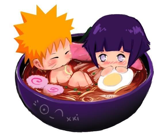 我曾经看过一张q版的鸣人和雏田坐在拉面碗里
