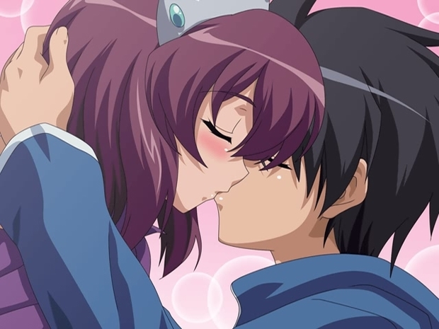 动漫情侣头像一男一女亲嘴