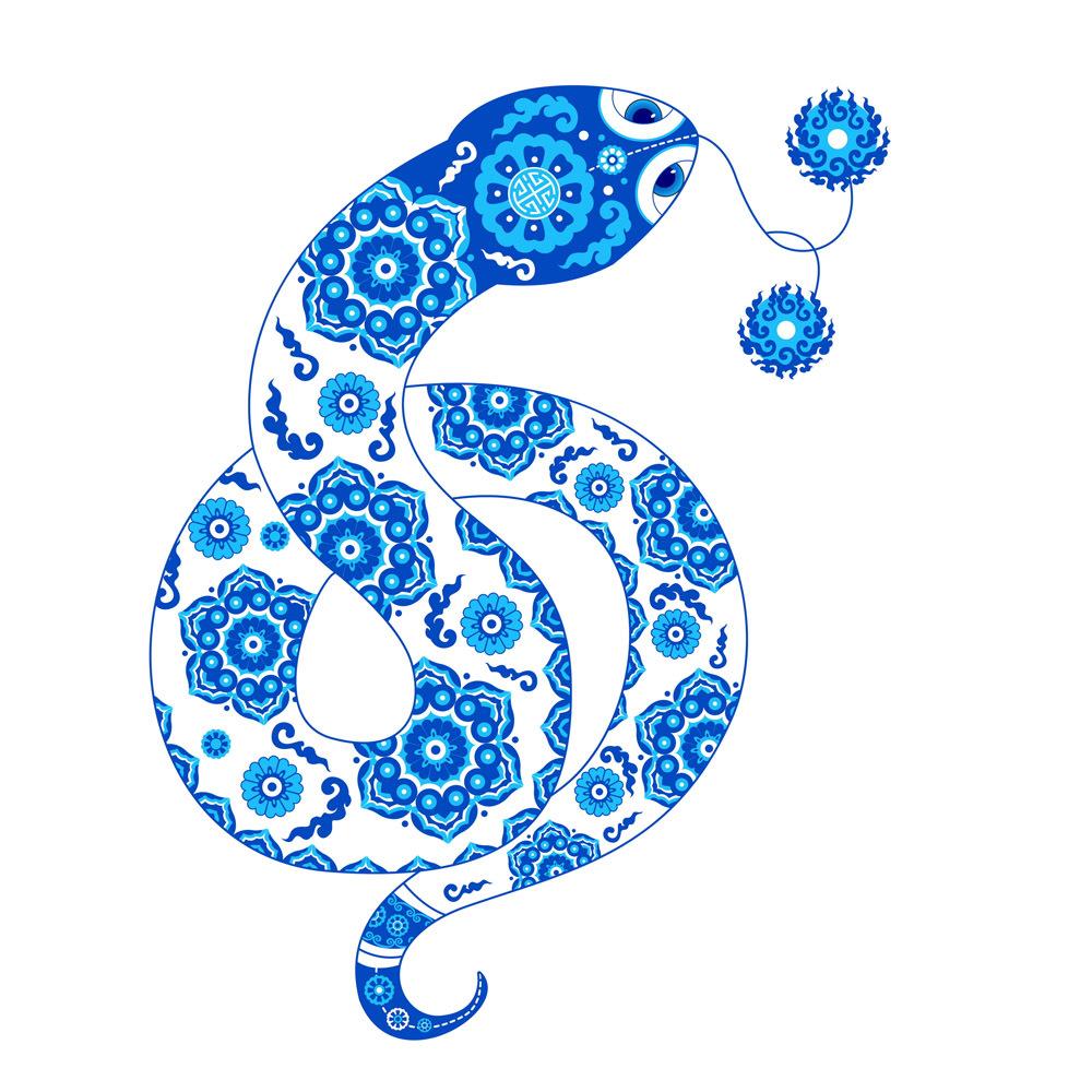 蛇彩铅手绘图