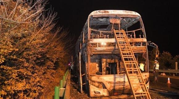 湖南:高速客车起火后