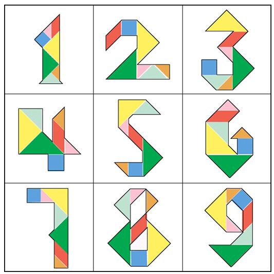 七巧板拼图 用七巧板拼1-10和a,b,c,d,e,f,g以及自己喜欢的小动物