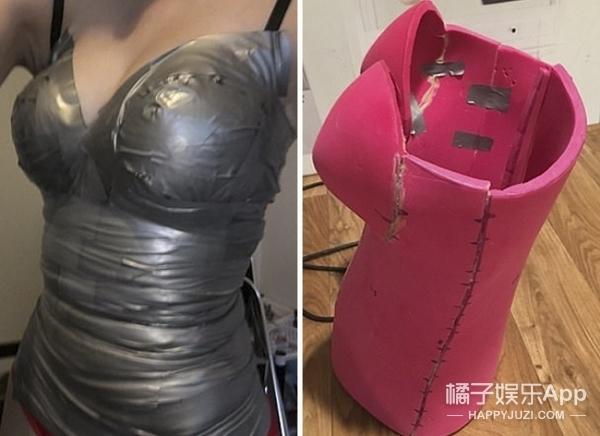 用了50个小时,将瑜伽垫和输送带改造成了神奇女侠的服装