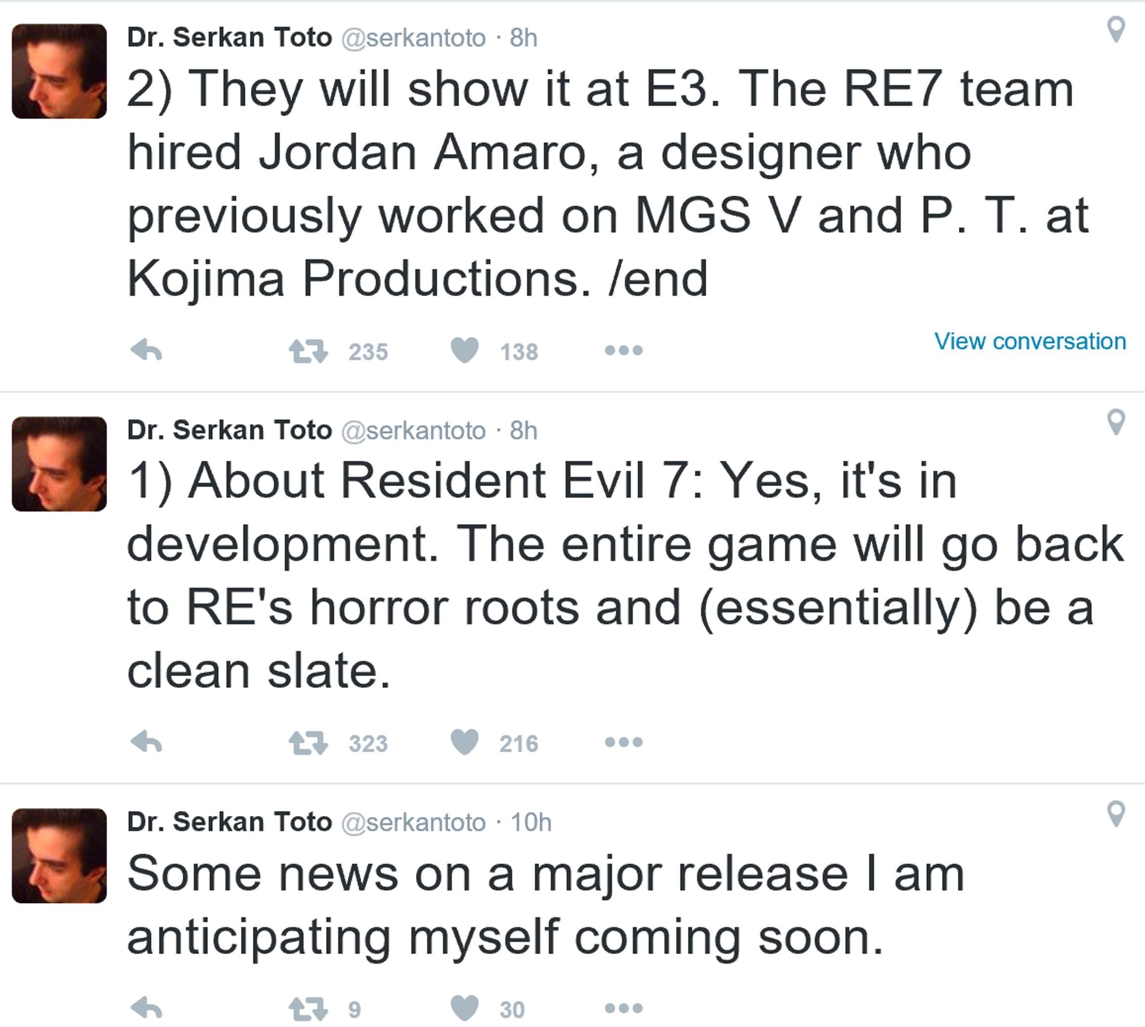 《生化危机7》有望亮相E3