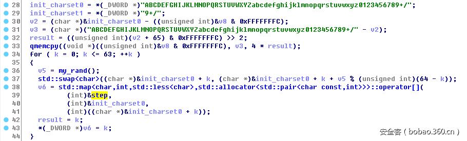 初始化映射字符集
