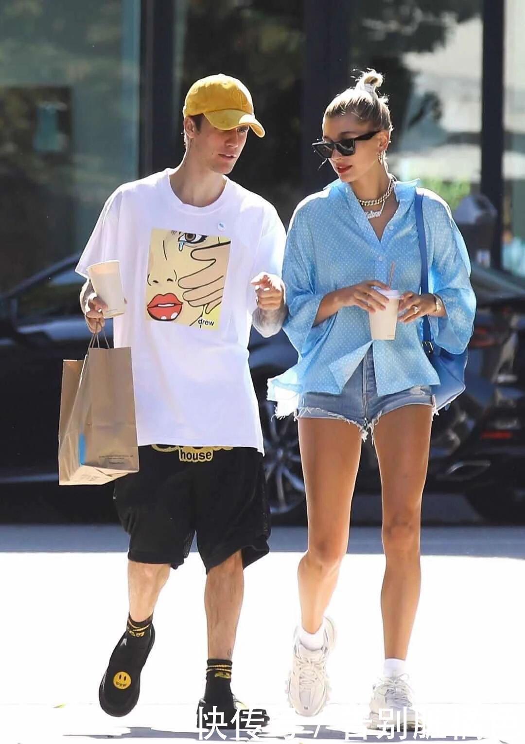 贾斯汀比伯夫妇超有范,一个潮流时尚,一个气场十足!