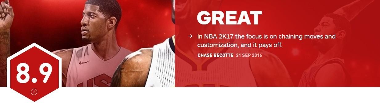 《NBA 2K17》IGN评分8.9