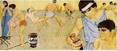 古代雅典学生在体育场所锻炼身体