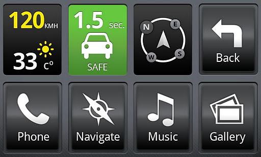 这个应用软件利用智能手机本身的摄像头,gps和感应器来探测在主车辆