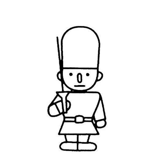 卡通小士兵简笔画