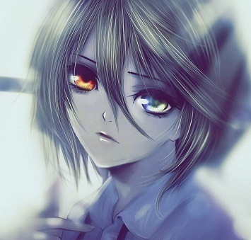 眼睛会发光的动漫女孩,紫色的,蓝色的,或者是红的绿色