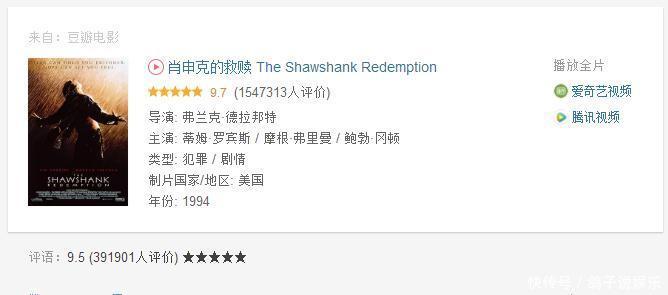 评分最高的四部影片,《肖申克的救赎》奉为经典,评分9.5