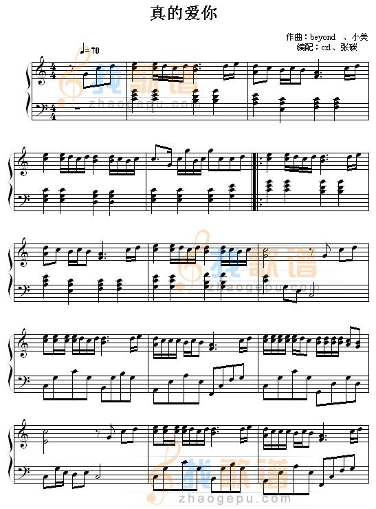 黄家驹 真的爱你 钢琴谱就有,至于电子琴谱你把左手改成和