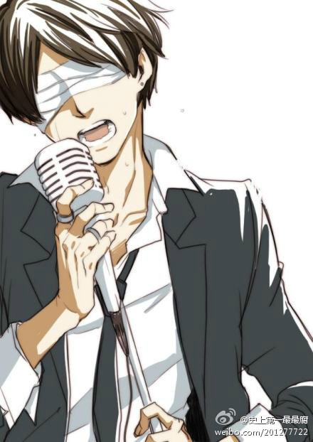 帅气男生动漫唱歌图