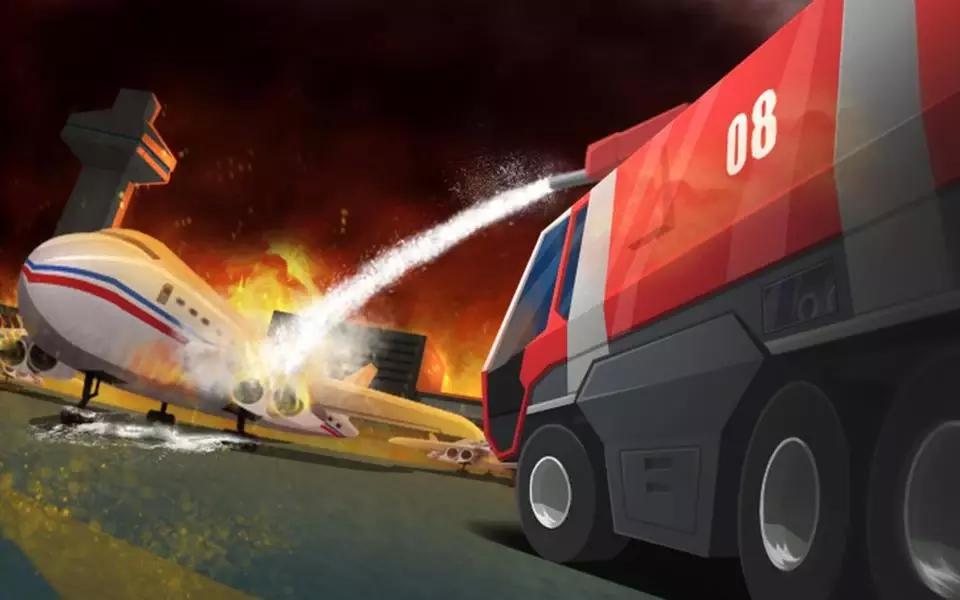 一些在机场起火的飞机和物品,你需要开车朝着火的消防车和操作消防