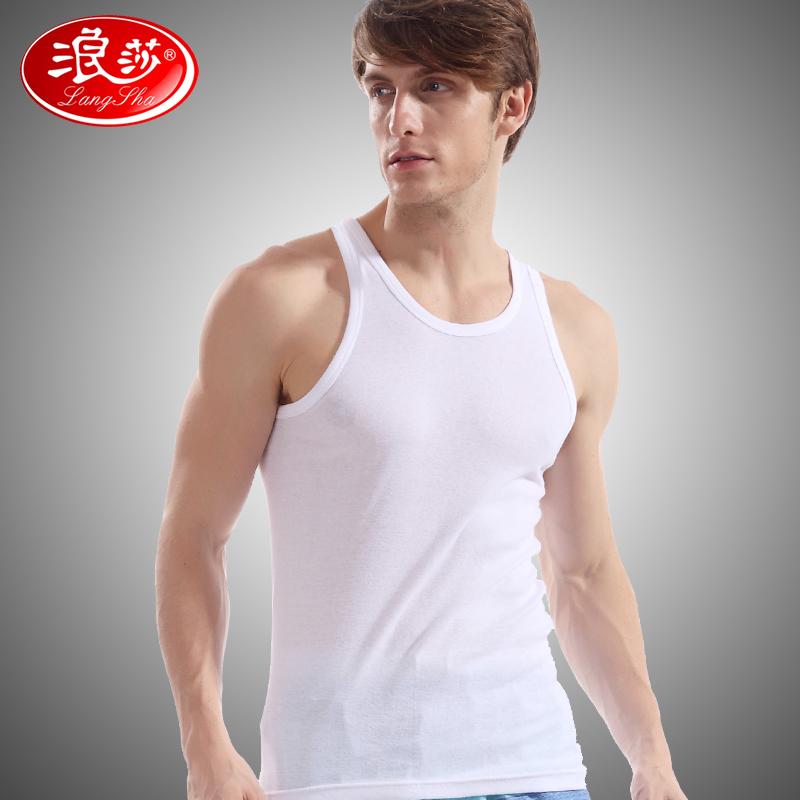 【浪莎男士背心】白色纯棉紧身春夏运动上衣