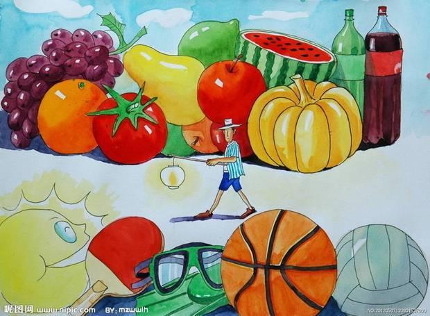 水果可乐水粉画