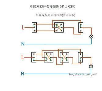这就是双控灯的实际接线图(多控灯)