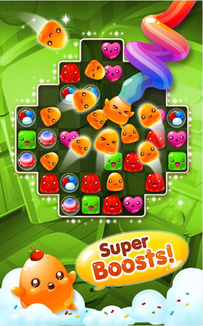 是一款益智闯关游戏,看见如此呆萌可爱的七彩果冻,你是否早已兴奋不已