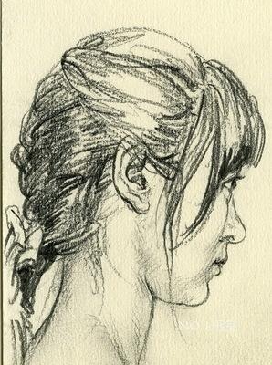 古装人物侧脸手绘