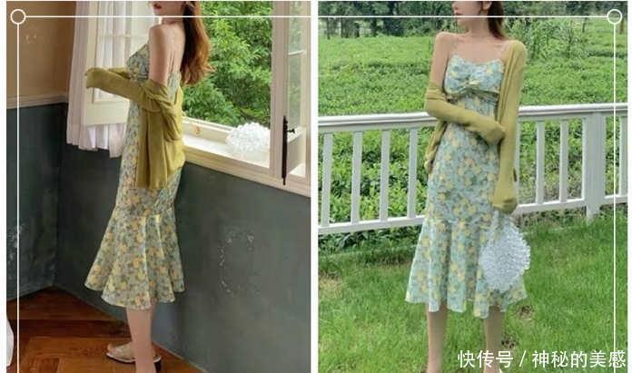 秋天穿这些小碎花连衣裙出街,尽显甜美少女气息~