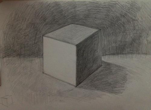 初学自学第一天 画的正方体 求指点 哪里需要改进,透视 结构什么的都
