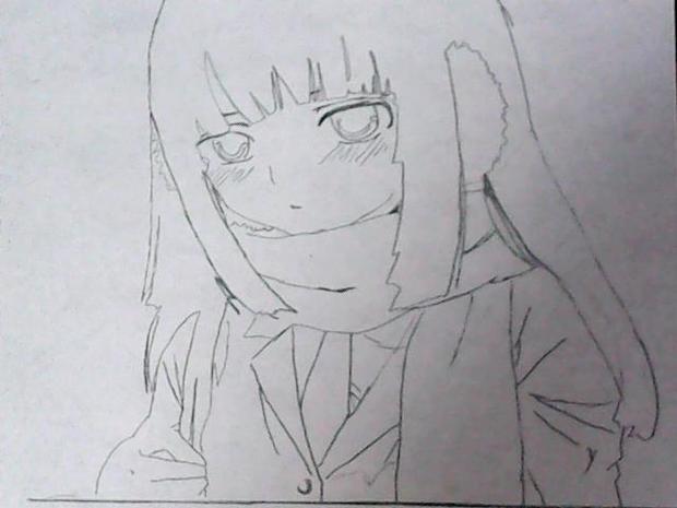 漫画女生侧面素描图侧面女生头像素描 铅笔画女生