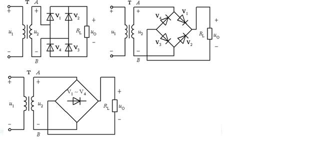 画出单相桥式整流电路图
