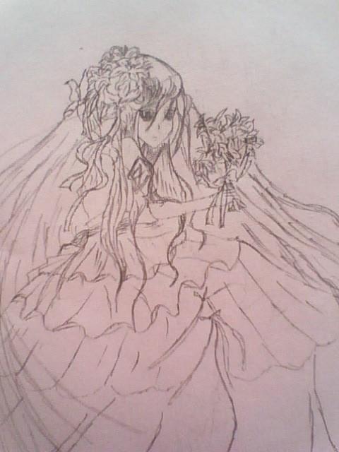 婚纱漫画图片铅笔画