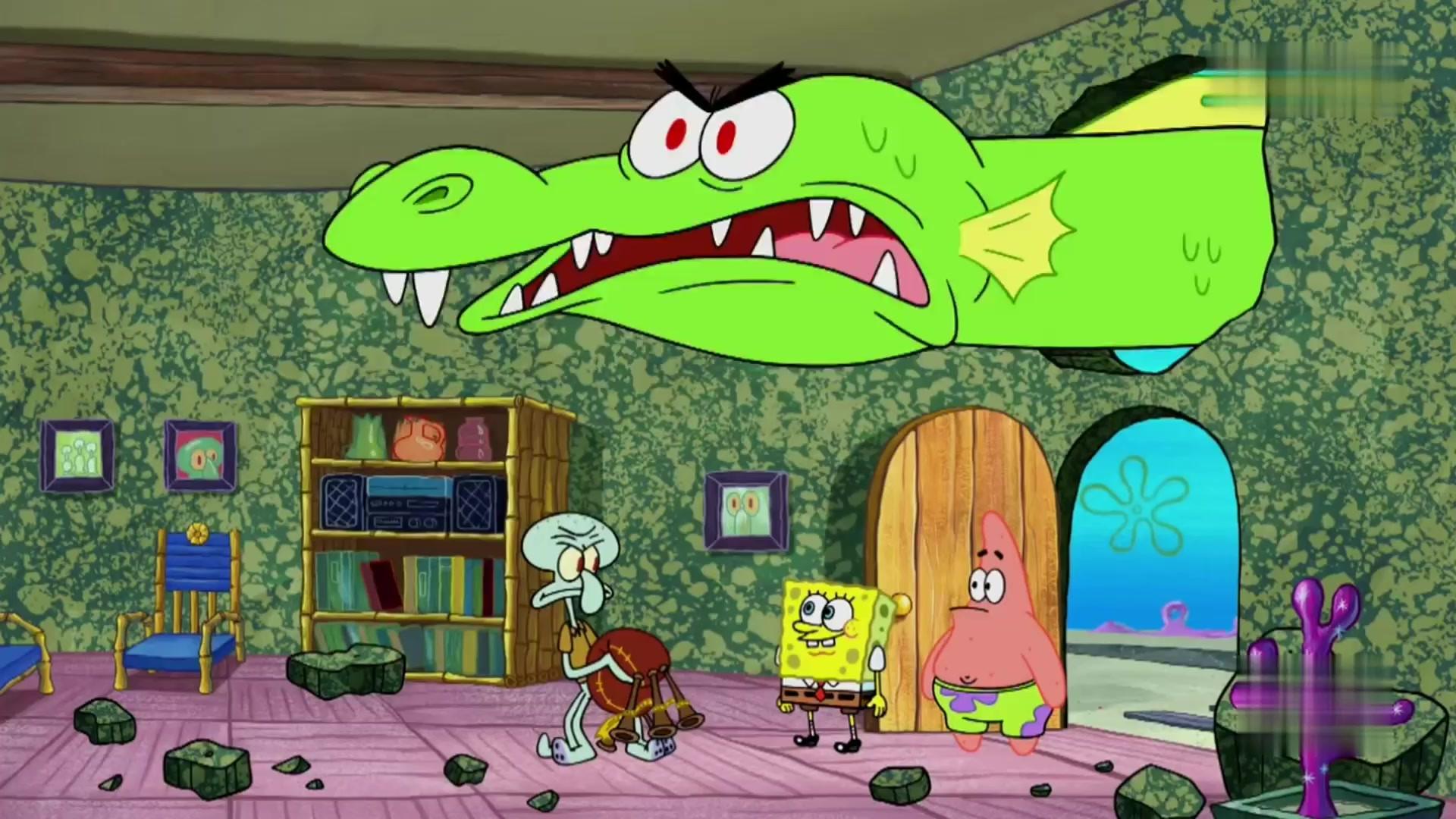 海绵宝宝:海绵宝宝和派大星找到水怪,带回章鱼哥家里