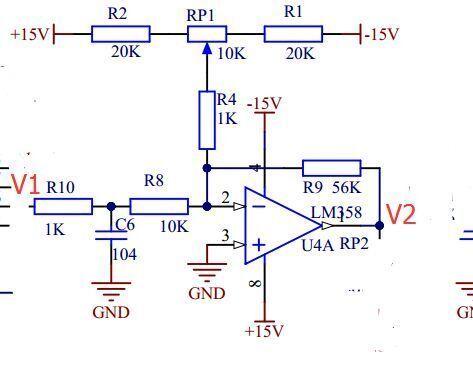 一,放大倍数:56/(10 1)≈5二,调节输出电压的直流电平,反相加法器