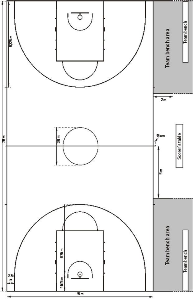 标准篮球半场图纸