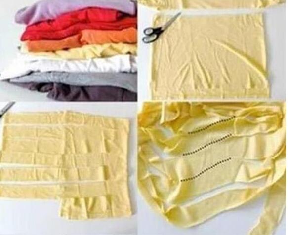 如何diy旧衣服改成地毯方法图解